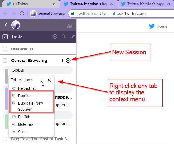 New Sessions from Ghost Browser Sidebar