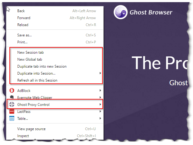 session manager in page context menu
