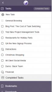 Browser based task list